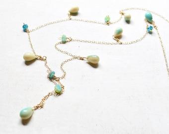 Long Beaded Necklace, Teardrop Bead Necklace, Long Gold Necklace, Layering Necklace, Dangling Bead Necklace