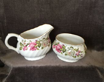 James Kent Staffordshire Old Foley Harmony Rose cream creamer milk and sugar set