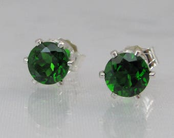 Chrome Diopside Stud Earrings, Natural Russian Chrome Diopside, 5mm Gemstone, Emerald Gemstone, 925 Sterling Silver, Diopside Post Earrings