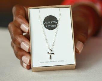 Cross, Cross Necklace, Sterling Silver Cross, Silver Necklace, Cross Pendant, Crucifix Necklace, Tiny Silver Cross, Small Cross, Cross Charm