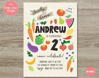 Fruits Veggies Birthday Invitation // 5x7 Printable Invitation Fruit Market Birthday - Locally Grown Produce Farmers Market Birthday Theme