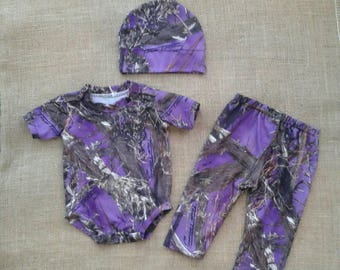 NEW ! Camo Newborn to 3 months  3 pc sets. onsie,pants,hat  10 colors to choose from