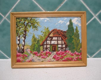 Small Vintage Floral Tapestry - Cottage and Flowers -Wooden Frame