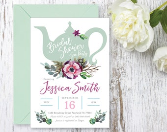 Tea Party Bridal Shower Invitations, Baby Shower Invite, Invite Printable, Succulents, Watercolor, Bride Luncheon, Fall Bridal Shower