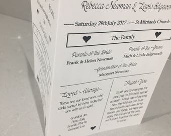 Order of service wedding cards, full information A4 double sided wedding ceremony cards