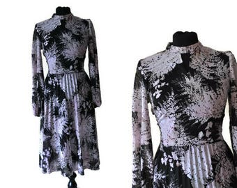 1970's Sheer Black Dress // Vintage Floral D'Alliards Dress with Pleated Skirt // Small