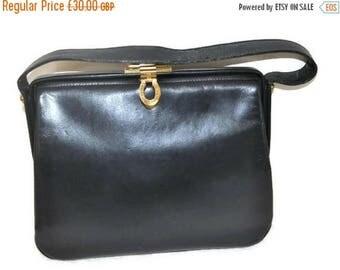 Summer Sale Vintage Blue Leather Handbag// Gold Clasp Handbag // Square bag