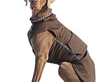 Weimaraner SoftShell Dog Coat - Red Winter Dog Coat - Custom Dog Raincoat - SoftShell / Fleece coat - MADE TO MEASURE
