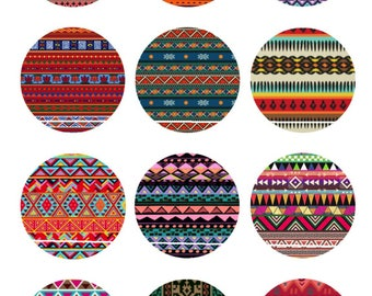 Colors and ethnic patterns 12 Images/designs for 30/25/20/18/16/15/14/12/10/8 mm cabochon round/square/oval