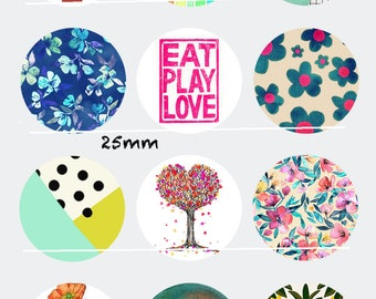 CT125 Eat Play Love 12 Images/designs/collage digital 30/25/20/18/16/15/14/12/10/8 mm cabochon round/square/oval