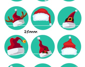 CT223 Hat Christmas 12 Images/designs/collage/Scrapbooking digital 30/25/20/18/16/15/14/12/10/8 mm cabochon round/square/oval