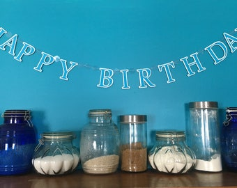 Happy Birthday Banner in blue