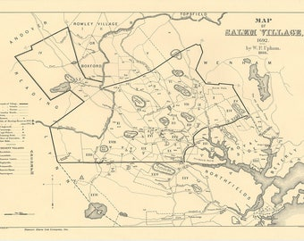 Salem Village Map Of 1692, At The Start Of The Salem Witch Trials. Print/Poster (4816)