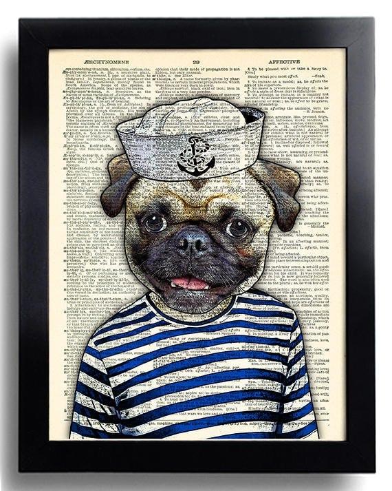 Drôle Carlin chien affiche marin Carlin impression Cool chien