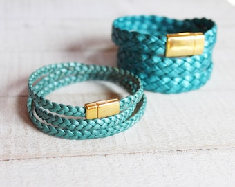 Mermaid Blue Leather Wraps