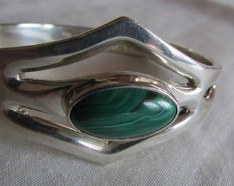 Malachite and Sterling Silver Hinged Bangel Bracelet