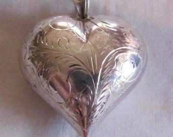 Diamond Cut Puffed Heart Pendant