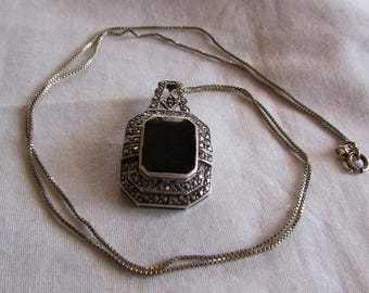 Sterling Silver, Onyx and Marcasite Necklace