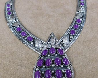 Sterling Silver and Purple Stone Necklace