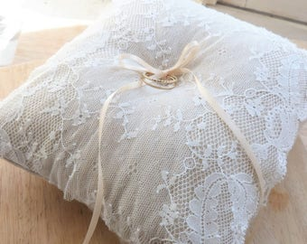 Wedding lace ring cushion of calais and linen