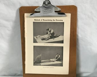 Methods of resuscitating the drowning Howard and Sylvester's methods vintage medical illustration from 1915 antique illustration