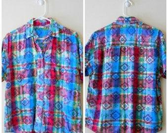 90s Southwestern Shirt, Button Down, Khazana, Southwestern, Aztec, Rainbow, Plaid, 1990s, Size Medium, Vintage Unisex, Unisex Clothing