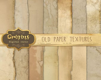 Old Paper Textures, vintage antique distressed aged paper backgrounds, grunge ripped edges, ancient digital printable scrapbook paper