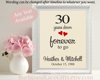 30th Anniversary Gift to Wife Gift Husband 30 Year Anniversary Gift to Wife, Gift to Husband, Gift for Husband, Gift for Wife, Linen (208)
