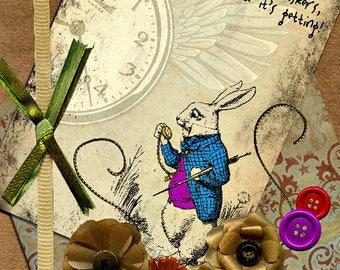 The adventures of Alice in Wonderland made handmade 21 cm x 15 cm card