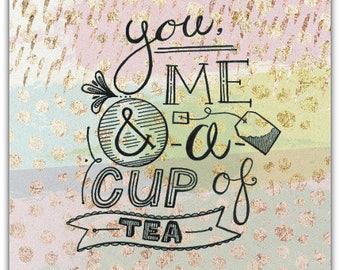 Card Cup of Tea original creation made hand 15cm x 15cm