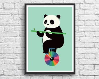 Art-Poster 50 x 70 cm - Baby Panda Zen - Learn to Balance your life
