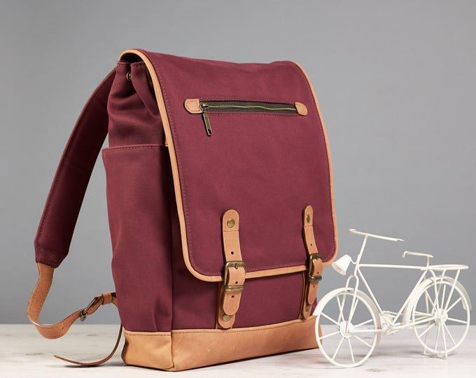 Laptop backpack. Waterproof canvas backpack. Waxed cotton rucksack. 15 Laptop Backpack