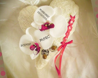 Ring bearer red Orchid artificial heart sisal