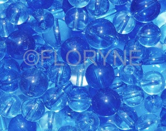 Set of round blue glass beads