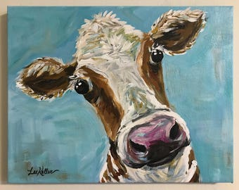 Cow Painting on canvas. Original cow painting,  cow art in acrylics on stretched canvas, cow with blue background