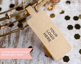 Custom logo text price tag jewelry brown kraft label sticker tag, custom sticker, sticker printing, jewelry design, jewelry logo, packaging