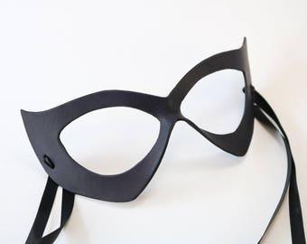 Catwoman Mask - Black Cat - leather mask - ms Marvel - Superhero or villain mask