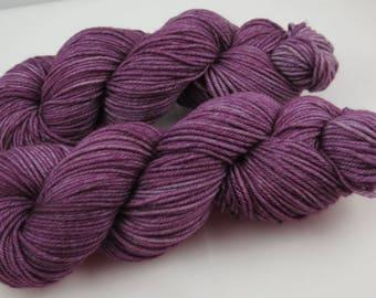 Hand Dyed Yarn, Worsted, Merino, Hazy Plum, Indie Dyed Knitting
