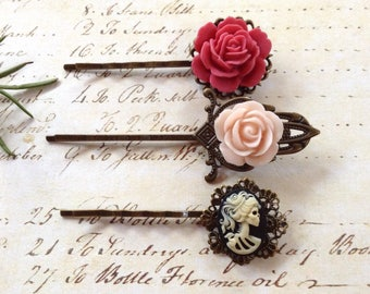 Primrose Pink And Pale Pink Floral And Black She Skull Hair Clips