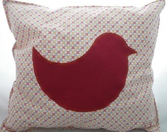 Coussin008 - Red and orange bird pillow