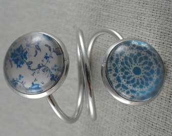 Bague092 - Silver double ring blue rosette and liberty cabochons
