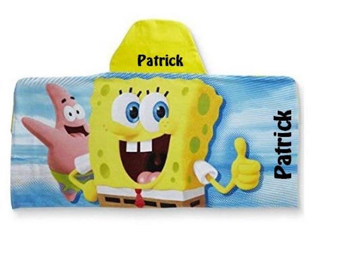 SpongeBob SquarePants Kid's Hooded Beach Towel Wrap - Personalized