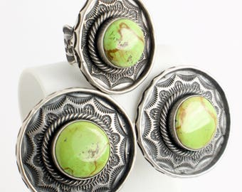 Green Mojave Jasper and Silver  Earrings and Ring Set with Round Spring Green Mojave Jasper Stones with Southwest Details // Sz: 9 1/4