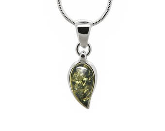 Amber Leaf Necklace - Minimalist Leaf Necklace - Amber Leaf Pendant - Amber Necklace - Silver Leaf Necklace - Baltic Amber Necklace -489P3g