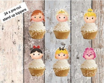 24 x Edible Pre Cut Girls Disney Tsum Tsum Stand Up Cupcake Toppers