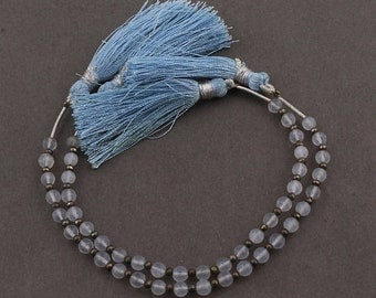 MARCH SALE 2 Strands Blue Chalcedony Hydro Smooth Round Ball Briolettes - Plain Ball Beads 4mm 6 inches SB4166