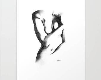 Critic, Art Print, Graphite, Pencil, Drawing, Black and White, Minimalist, Abstract, Decor, Art, Print