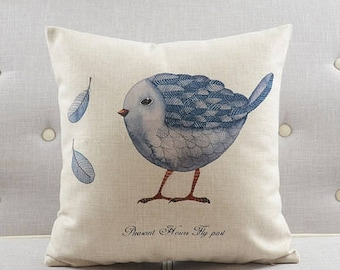 Decorative pillow, cushion cover the blue bird throw pillow shell customized size