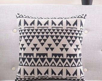Decorative pillow, cushion cover black  and white decorative pattern home throw pillow shell customized size