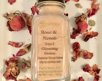 3-in-1 Rose & Neroli Cleansing Grains - for Normal to Dry Skin (Cleanser, Exfoliant, Mask)